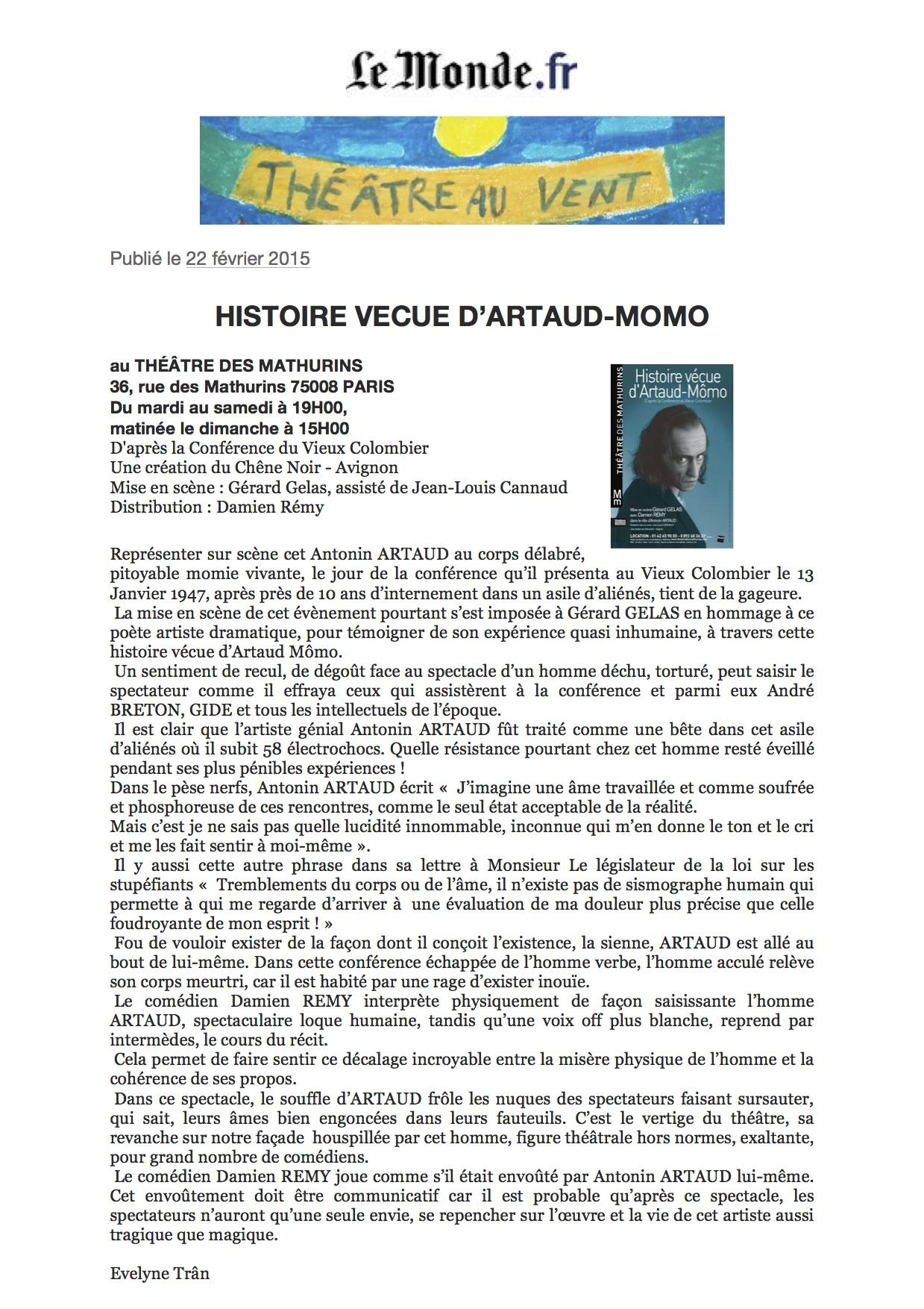 Artaud Momo Critique Le Monde